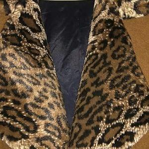 Long wool wrap coat peacoat with leopard